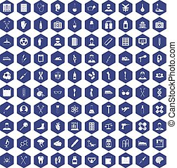 100 ambulance icons hexagon purple