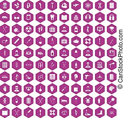 100 ambulance icons hexagon violet