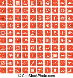 100 ambulance icons set grunge orange
