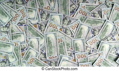 $100 american dollar banknotes background dolly shot