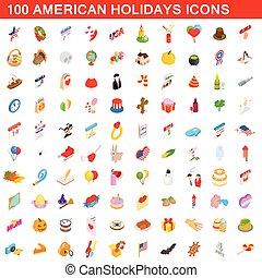 100, americano, vacanze, pilotaggi, set, isometrico, 3d, stile
