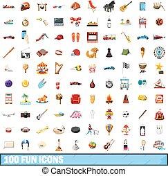 100, amusement, icônes, ensemble, dessin animé, style