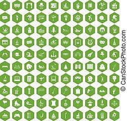 100 amusement icons hexagon green