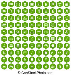 100 amusement icons hexagon green