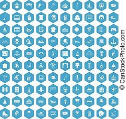 100 amusement icons set blue