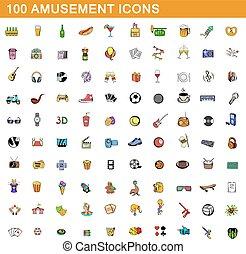 100 amusement icons set, cartoon style