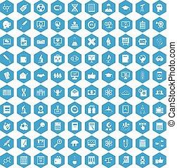 100 analytics icons set blue