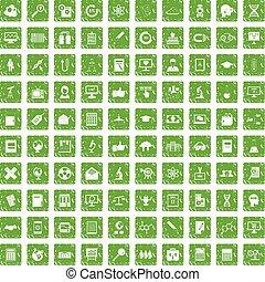 100 analytics icons set grunge green