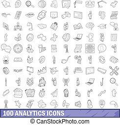 100 analytics icons set, outline style