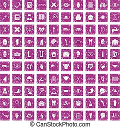 100 anatomy icons set grunge pink