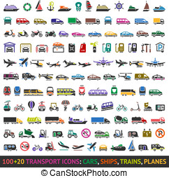 100 AND 20 Transport colored icons, vector illustrations