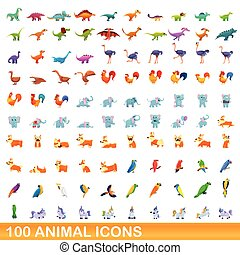 100 animal icons set, cartoon style