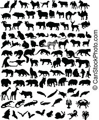 100 animals - A hundred black silhouettes of different ...
