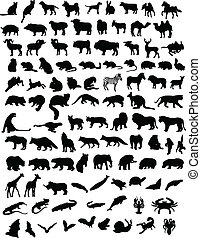 100 animals - A hundred black silhouettes of different...