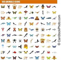 100 animals icon set, flat style