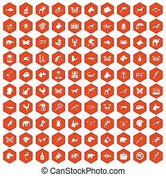 100 animals icons hexagon orange