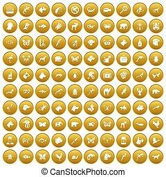 100 animals icons set gold