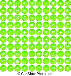 100 animals icons set green circle