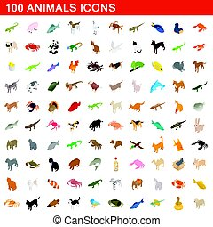 100 animals icons set, isometric 3d style