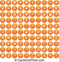 100 animals icons set orange