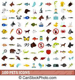 100, animaux familiers, style, ensemble, icônes, plat