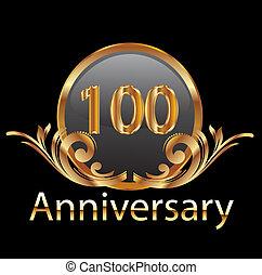 100, aniversário, ouro