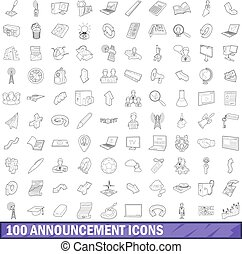100 announcement icons set, outline style