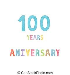 100, anos, cartão aniversário, celebração