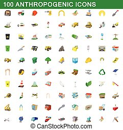 100 anthropogenic icons set in cartoon style for any design vector illustration
