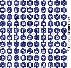 100 antiterrorism icons hexagon purple