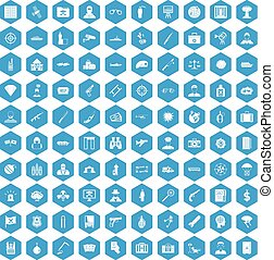 100 antiterrorism icons set blue