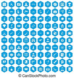 100 antiterrorism icons set blue - 100 antiterrorism icons...