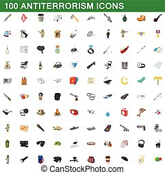 100 antiterrorism icons set, cartoon style