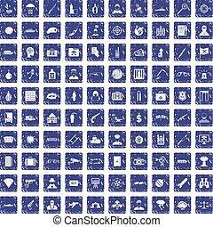 100 antiterrorism icons set grunge sapphire