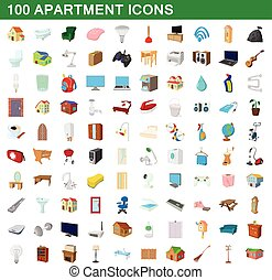 100 apartment icons set, cartoon style