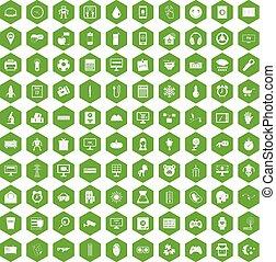 100 app icons hexagon green