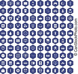 100 app icons hexagon purple
