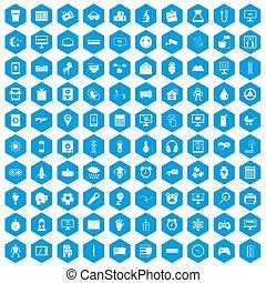 100 app icons set blue