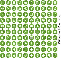 100 apple icons hexagon green