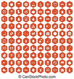 100 apple icons hexagon orange