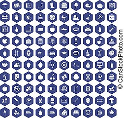 100 apple icons hexagon purple