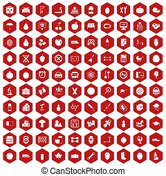 100 apple icons hexagon red