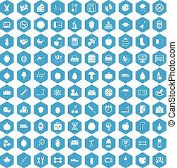 100 apple icons set blue