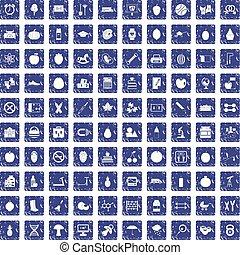 100 apple icons set grunge sapphire