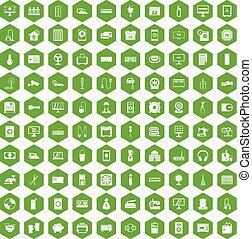 100 appliances icons hexagon green