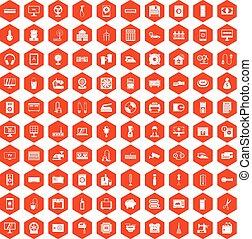 100 appliances icons hexagon orange