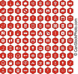 100 appliances icons hexagon red