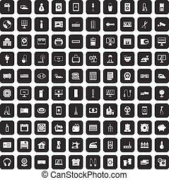 100 appliances icons set black