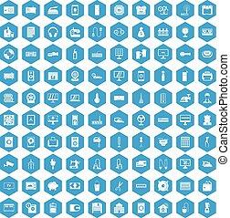 100 appliances icons set blue