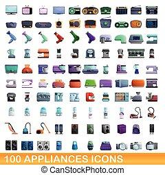 100 appliances icons set, cartoon style